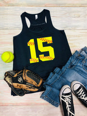 Softball Number, Softball Tank, Softball Number with threads Tank, Ball Mom Tank, Ladies Flowy Racerback Tank, Any Sport Tank, Any Number