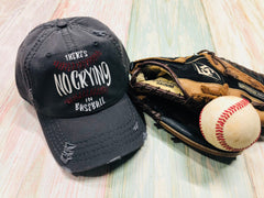 Theres no crying in Baseball, Baseball Hat, Distressed Hat, Vintage Hat, Glitter