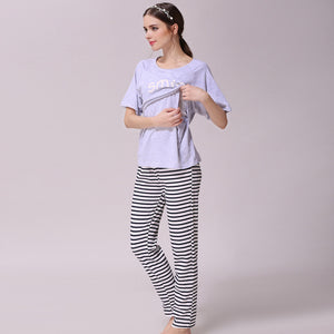 Bump Closet Maternity Pajama Set Nightgown Nursing Pajamas Set T shirt and pants - Bump Closet Maternity Clothes