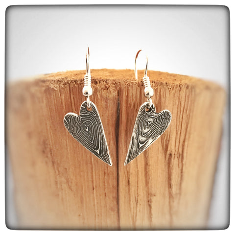 Valentines Personalised Heart Wood-grain Silver Earrings