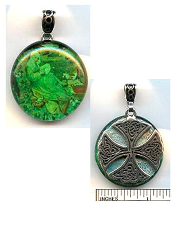Brigid of Ireland Carolingian Cross Reversible Pewter Pendant - PatriArts Gallery