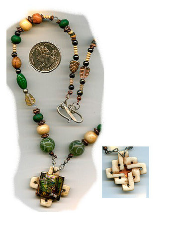 Brigid of Ireland Carved Bone Necklace - PatriArts Gallery