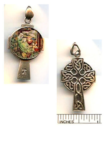 Brigid of Ireland Reversible Cross Sterling Pendant - PatriArts Gallery