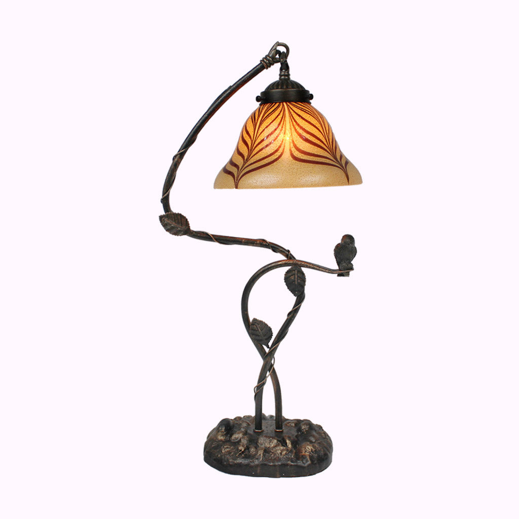Bird on a Branch Sculptured Bronze Lamp
