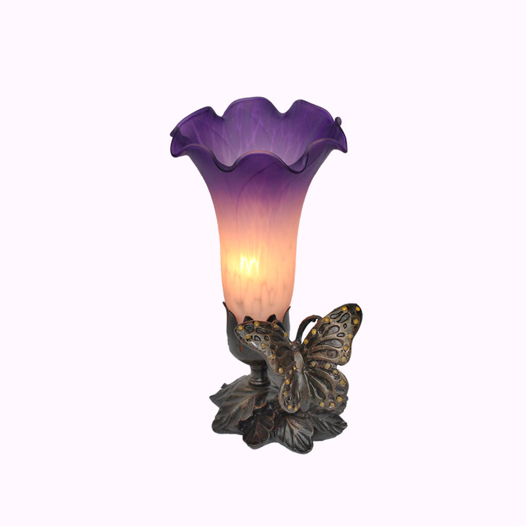 Jeweled Butterfly Sculptured Bronze Lamp