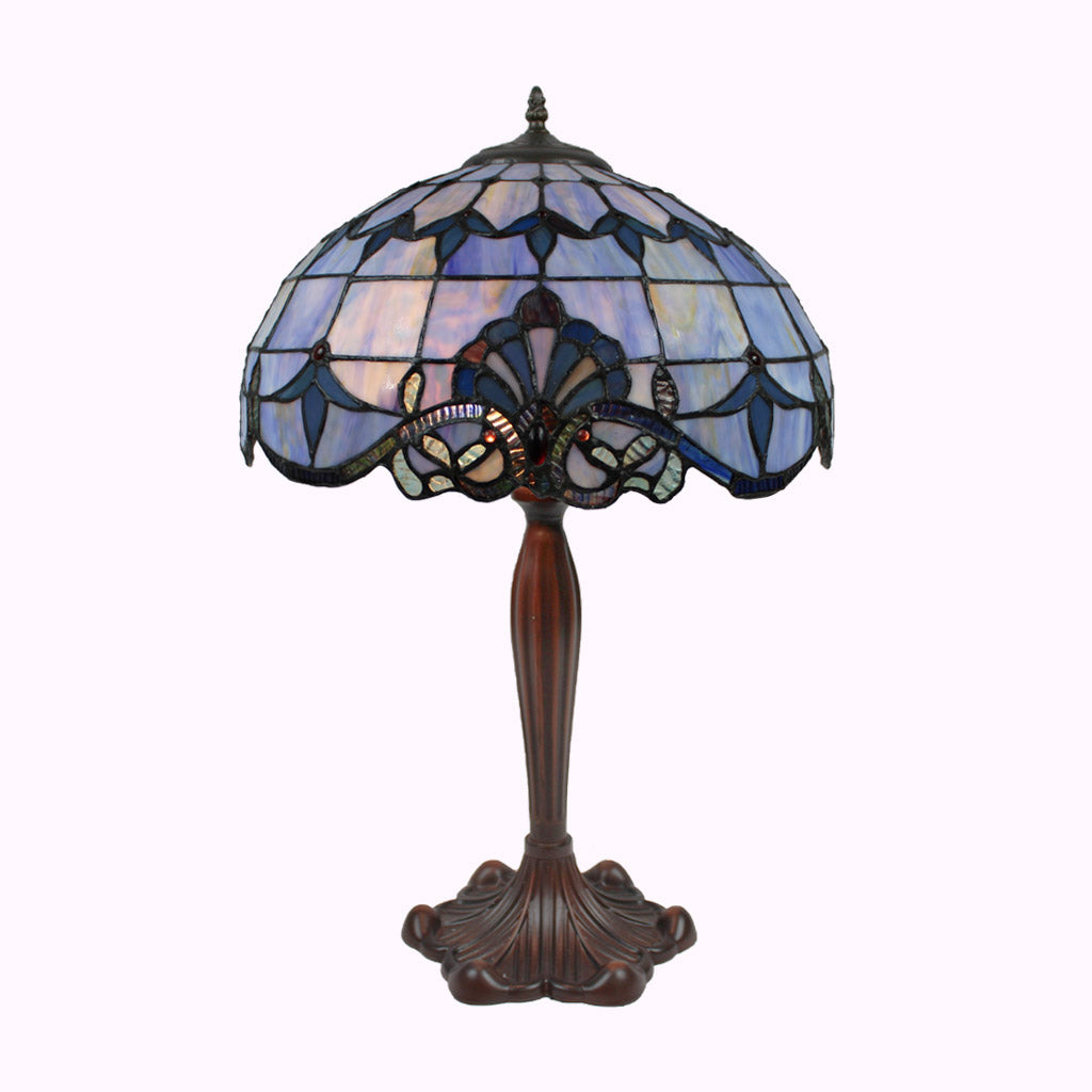 Blue Baroque Tiffany Table Lamp - Large