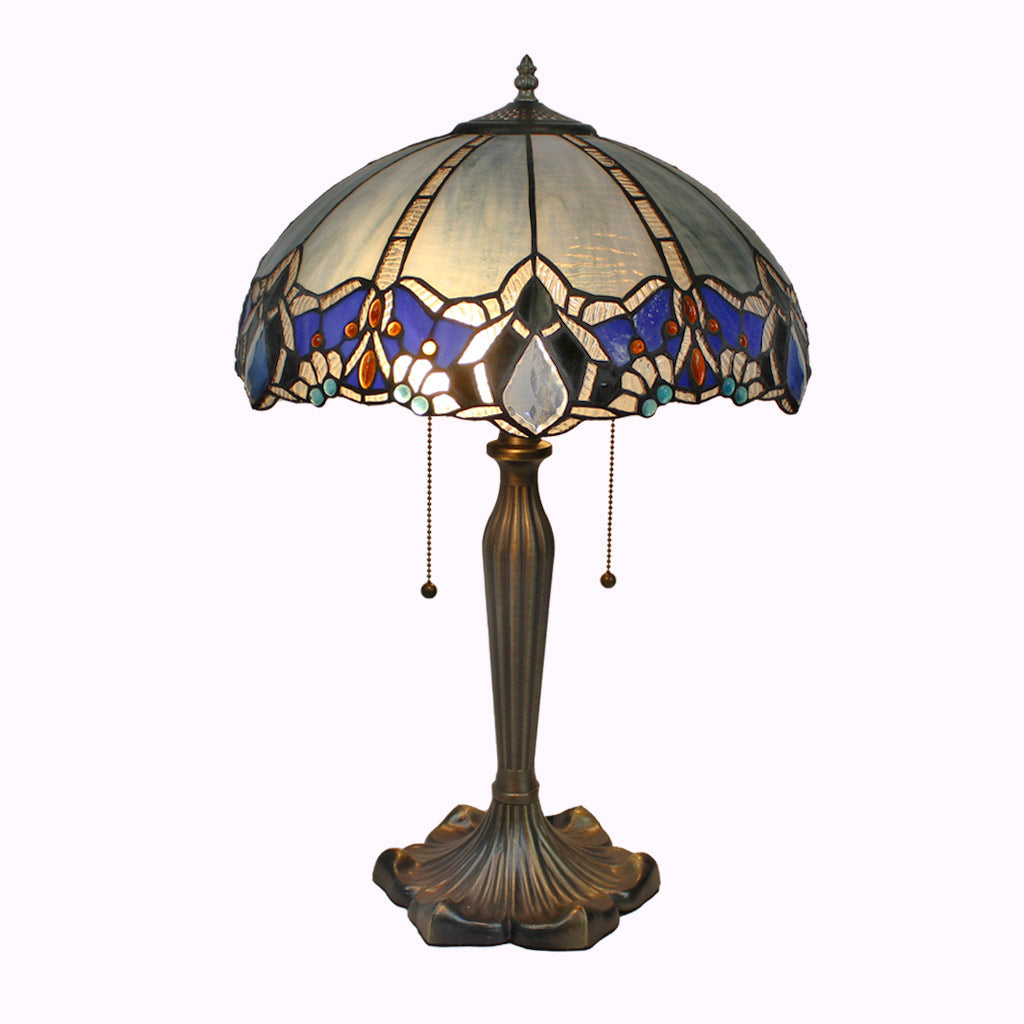 Large Blue Diamond Tiffany Table Lamp from Memory Lane Lamps