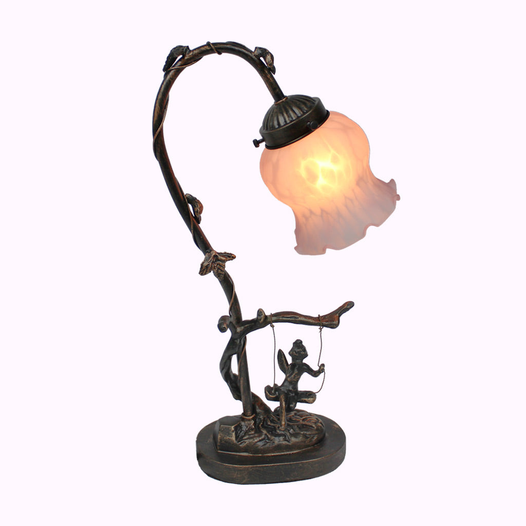 Swinging Angel Butterfly Sculptured Bronze Lamp