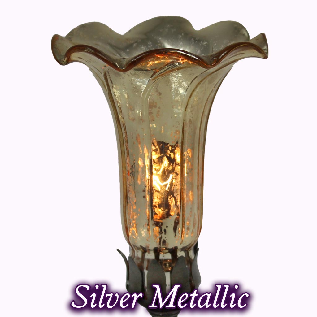 Jeweled Butterfly Sculptured Bronze Lamp in silver metallic