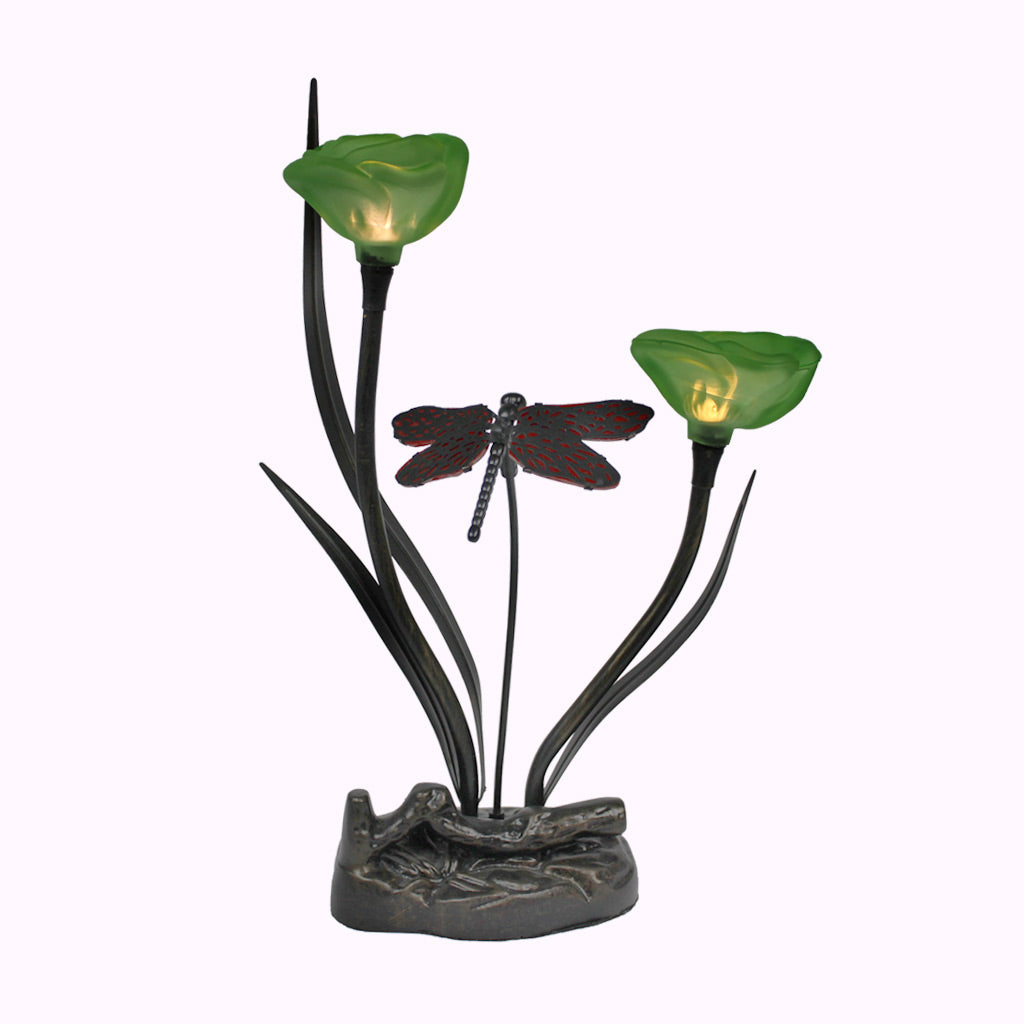 Irish Roses with Dragonfly Sculptured Bronze Lamp
