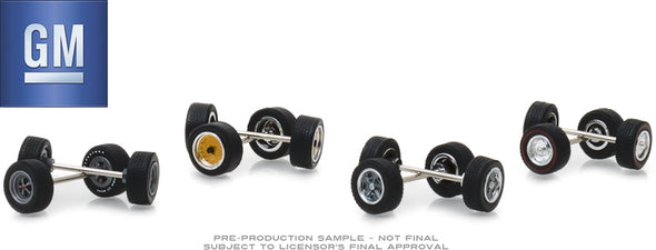 GreenLight 1/64 General Motors Wheel & Tire Pack - 16 Wheels, 16 Tires, 8 Axles (Hobby Exclusive) - #13167