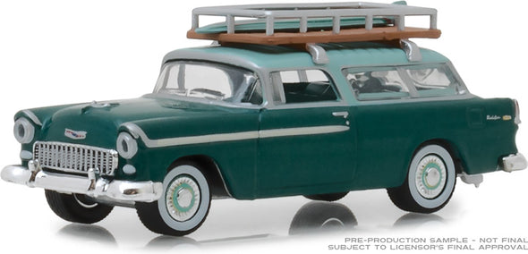 GreenLight 1/64 Estate Wagons Series 2 - 1955 Chevrolet Nomad - Neptune Green/Sea Mist Green with Surfboard Rack Solid Pack #29930-B