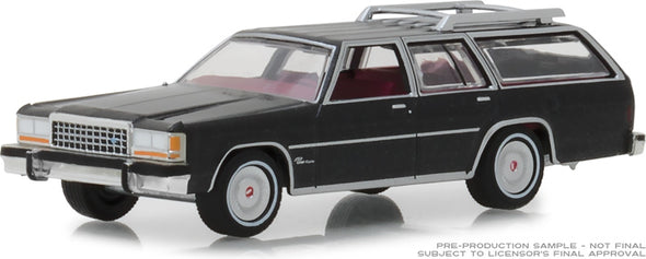 GreenLight 1/64 Estate Wagons Series 2 - 1986 Ford LTD Crown Victoria Wagon - Dark Gray Metallic Solid Pack #29930-E