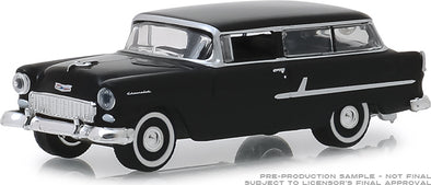 GreenLight 1/64  Estate Wagons Series 3 - 1955 Chevrolet Two-Ten Handyman - Onyx Black Solid Pack  #29950-B
