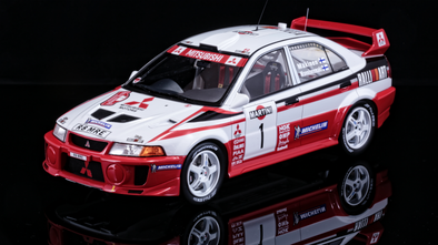 Tarmac Works 1/18 Mitsubishi Lancer Evo V WRC 1998 Rally Sanremo Winner #1 T.Makinen - T03-TM