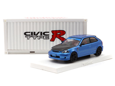 *FOR OVERSEAS CUSTOMER ONLY (Not Avalible For HK & Macau)* *Limit to 1 unit per person* Tarmac Works Hobby64 Honda Civic Type R EK9 Blue with special container (HK Exclusive Model) - T64-010-BL