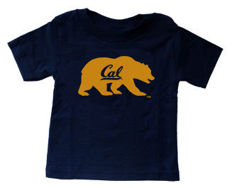 Bear with Cal Script Youth Tee. All items are trademarked by University of California Berkeley with their official logos. Cal Script, Campanigle, California Walking Bear, Oski mascot bear, California Golden Bears, UC Berkeley school seal, California Football and such.