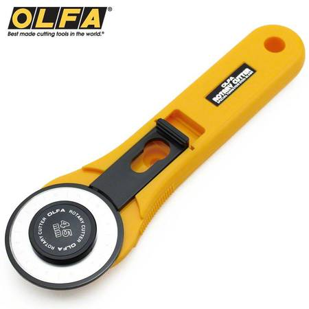 Olfa 45mm rotary cutter with a yellow plastic handle and a round metal blade with black plastic blade cover.