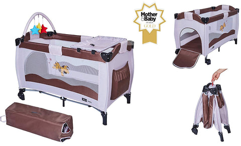 Cuna de Viaje Plegable Star Ibaby Sleep & Play. Doble Altura.