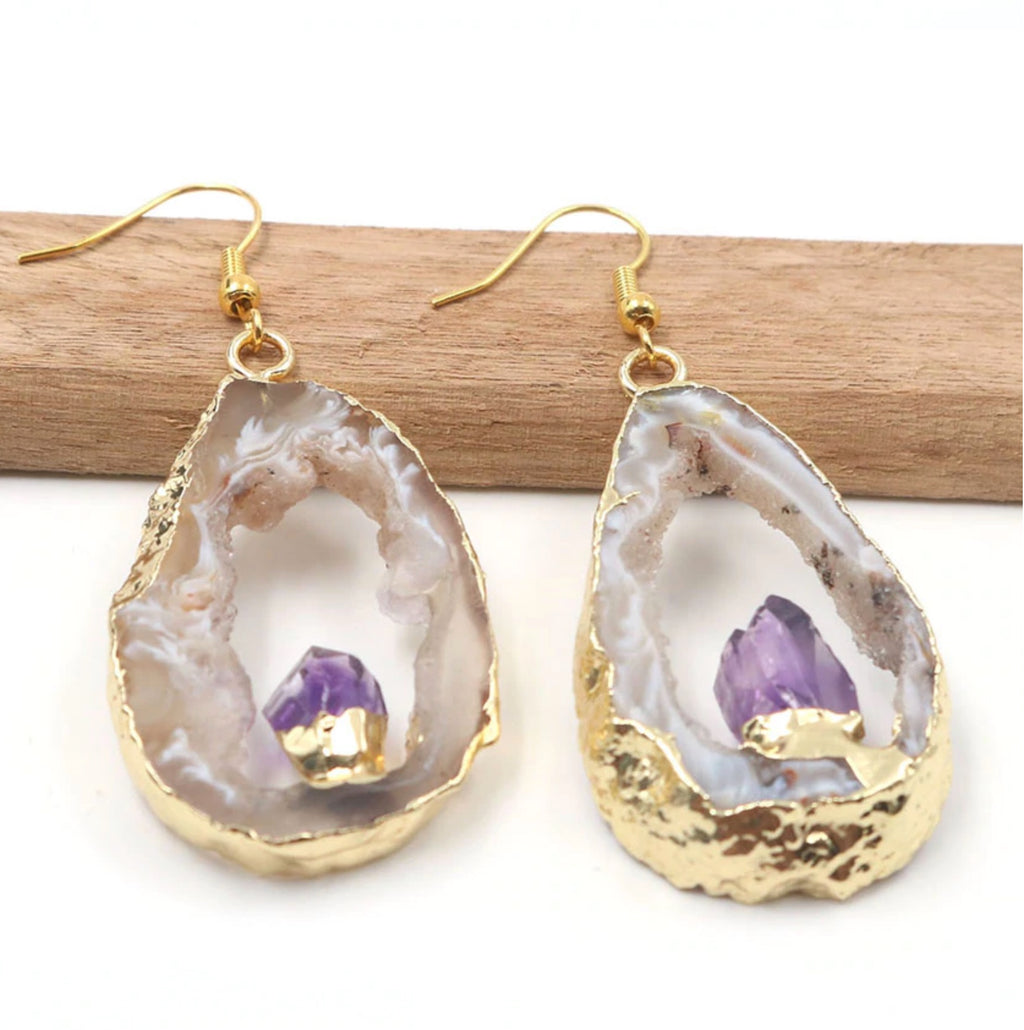 Natural Agate Quartz Druzy Dangle Hook Earrings