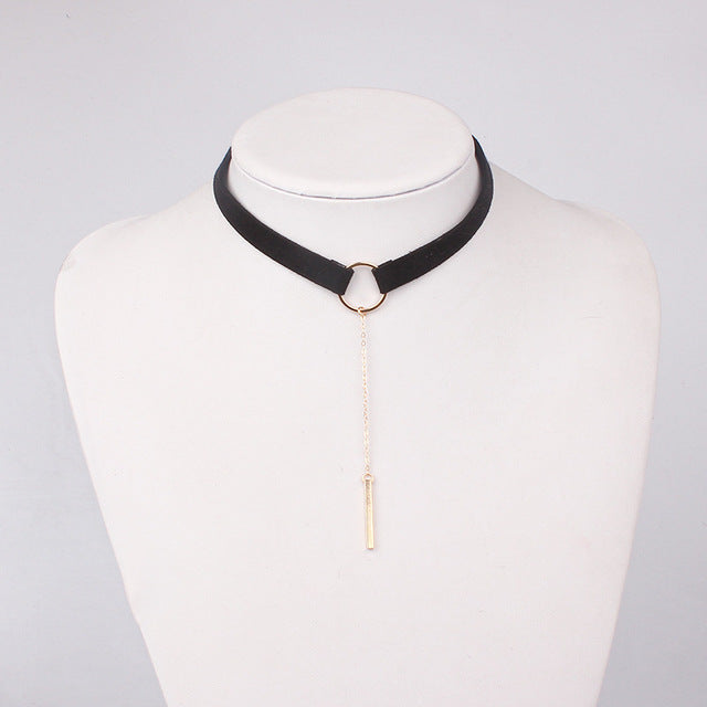 Leather Choker Necklace With Gold Pendant