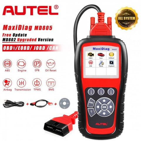 Image of Autel MaxiDiag MD805 Full System Support OLS/EPB/transmission/Airbag +CAN OBDII better than Autel MD802