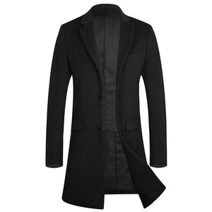 Men's Winter Trench Coat Wool Business Pea Coat Gentlemen Overcoat - Aptro Fashion