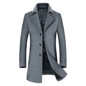 Men's Wool Coats Single/Double Breasted Trench Coat Winter Jacket - Aptro Fashion