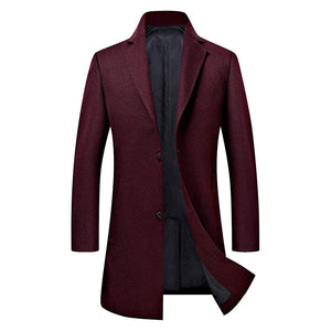 Men's Trench Coat Wool Blend Slim Fit Jacket Business Top Coat - Aptro Fashion