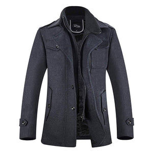 Men's Winter Coat Single Breasted Wool Pea Coat Fleece Jacket - Aptro Fashion