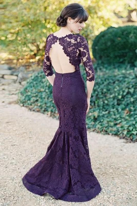 Gorgeous Half Sleeves Mermaid Long Purple Lace Open Back Bridesmaid Dress PFP0888