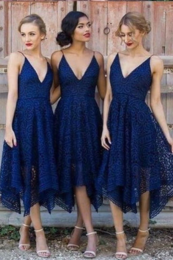 Navy Blue/Pink Deep V-neck Spaghetti Straps Sleeveless Asymmetry Lace A-line Bridesmaid Dress PFB0001