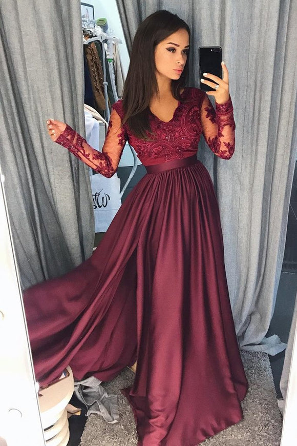 Burgundy Long Sleeves V Neck Lace Top A Line Long Prom Dresses PFP0408