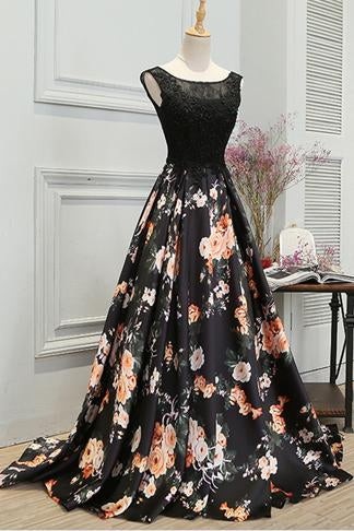 Stylish A Line Long Floral Printed Prom Dress,Formal Evening Dress PFP0415