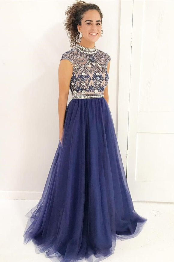 Stylish A Line High Neck Cap Sleeves Beaded Tulle Prom Dress,Formal Evening Dress PFP0417