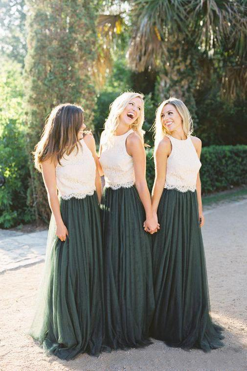 Modest Forest Green Tulle Ivory Lace Top Bridesmaid Dresses PFB0015