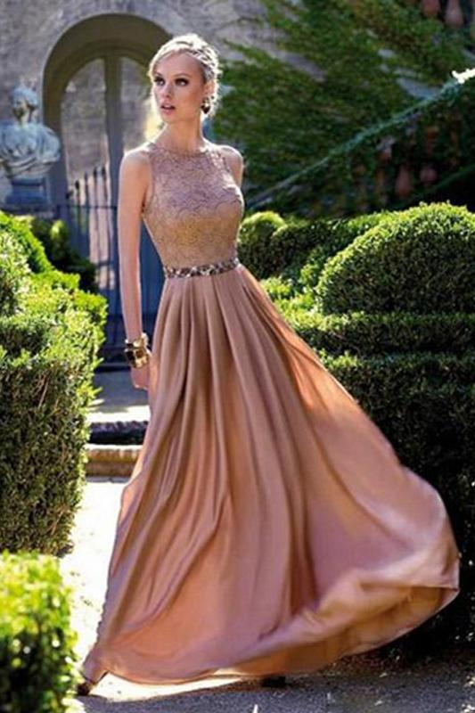 Coral Long Chiffon Lace Floor-length Round Prom Dresses With Beads