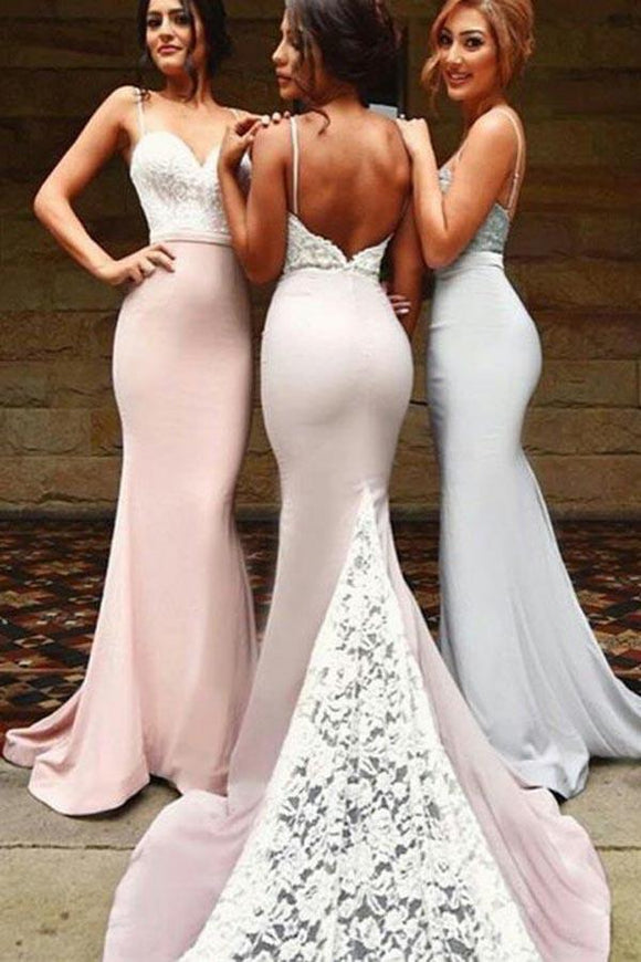 Sexy Spaghetti Straps Mermaid Backless Long Bridesmaid Dresses With White Lace PFB0019