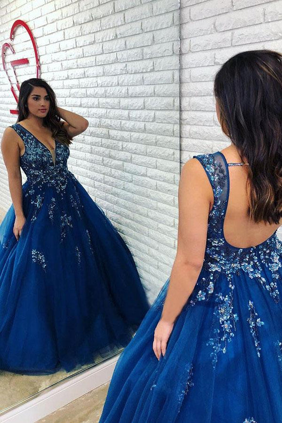 Ball Gown Royal Blue Beaded Long Plus Size Prom Gown with Open Back PFP1399