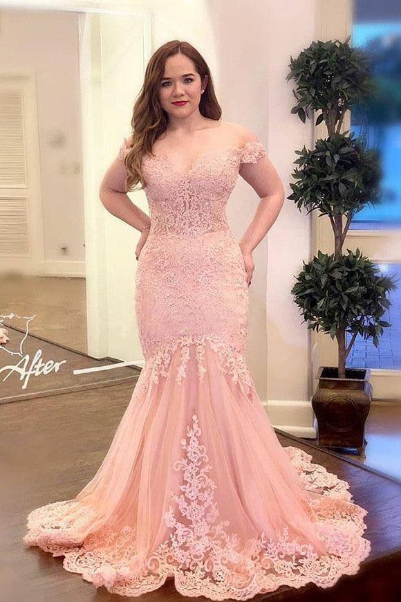 Off the Shoulder Pink Appliques Mermaid Long Plus Size Prom Dress PFP1404
