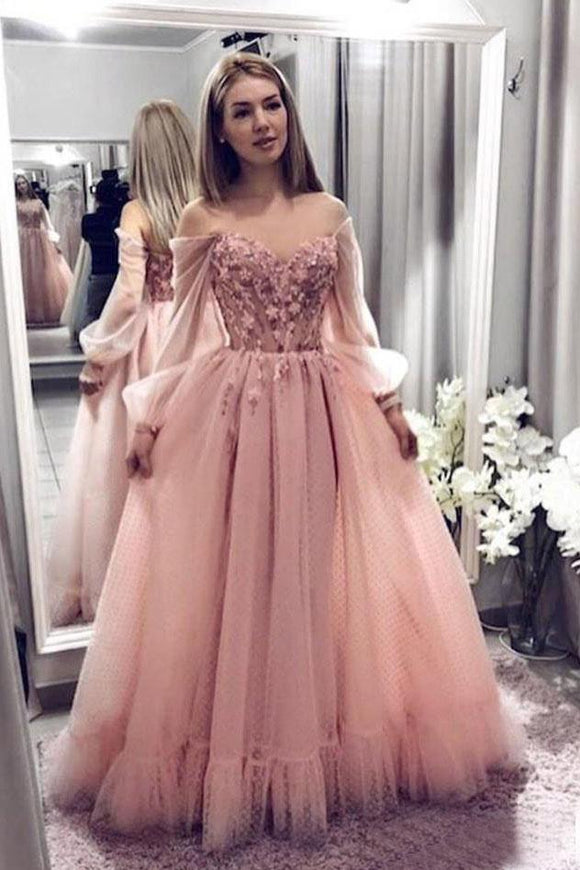 Princess Ball Gown Blush Pink Lace Prom Dresses With Long Sleeves PFP1444