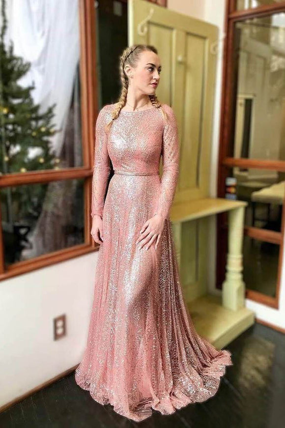 Sparkly Blush Pink Long Prom Dresses with Long Sleeves PFP1445