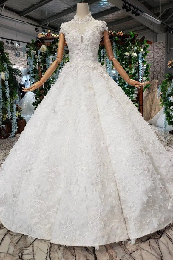 New Arrival Wedding Dresses Cap Sleeves Princess Ball Gown With Applique PFW0358