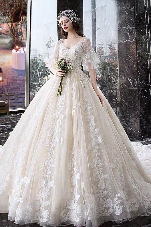 Charming Half Sleeves Ball Gown Wedding Dresses, Appliques V Neck Bridal Dress PFW0360