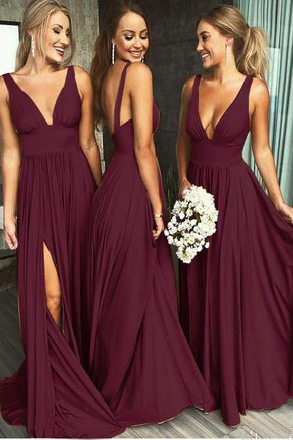 Burgundy A Line Deep V Neck Cheap Bridesmaid Dresses For Wedding PFB0100