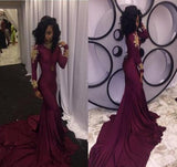 Mermaid Long Burgundy Long Sleeves Prom Dress with Appliques PFP0051