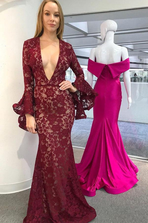 Burgundy Mermaid Deep V-Neck Long Sleeves Lace Prom Dress PFP1471