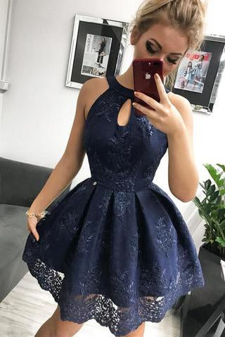 Navy Blue Lace Homecoming Dress, Simple Sleeveless Short Party Dresses PFH0208