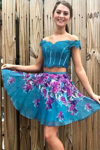 Two Piece Turquoise Off Shoulder Beading Floral Homecoming Dresses PFH0209