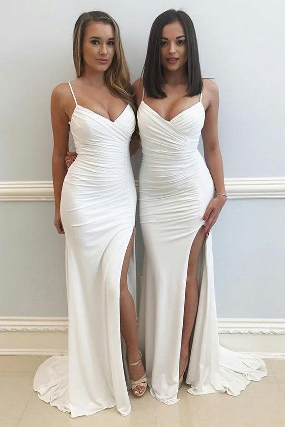 Simple Sheath Spaghetti Straps Sweep Train Ruched Off White Split Prom Dress PFB0030